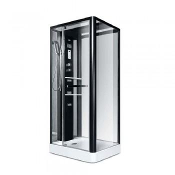 Гидробокс Miracle рама черная, стекло прозрачное 800*1000*15*2150мм