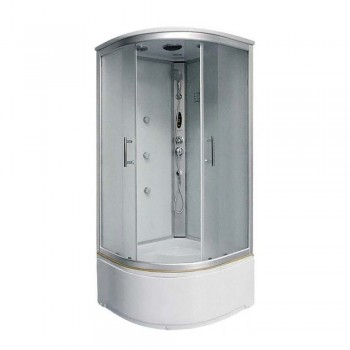 Гидробокс FABIO рама сатин стекло серое без КПУ 1000*1000*400*2150мм